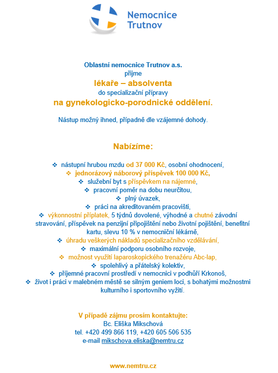 ON Trutnov_Lekar absolvent_gyn-por